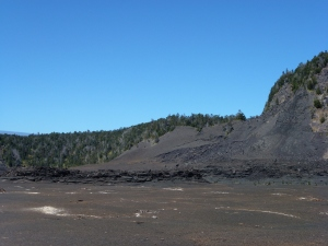 We've hiked down and are now walking a mile or so across the lava bed to hike out!