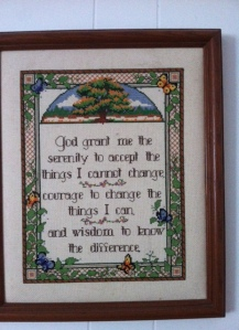 Serenity prayer in counted cross stitch
