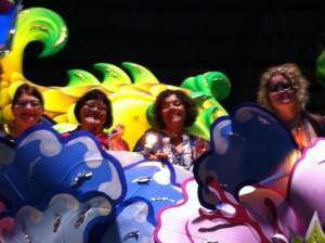 Friends on a Float at Mardi Gras World